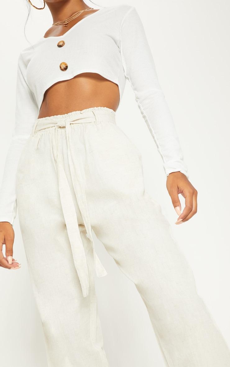 Stone Paperbag Linen Feel Tie Waist Detail Trouser 5