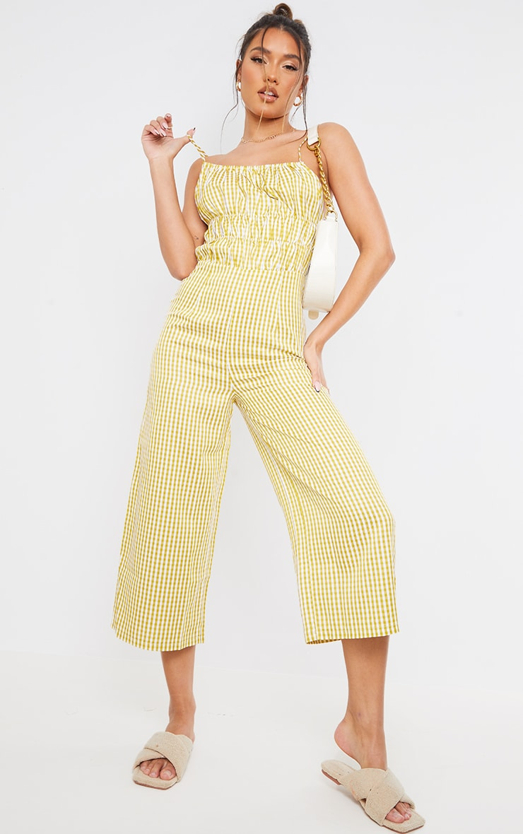 Lime Gingham Strappy Ruched Culotte Jumpsuit 1