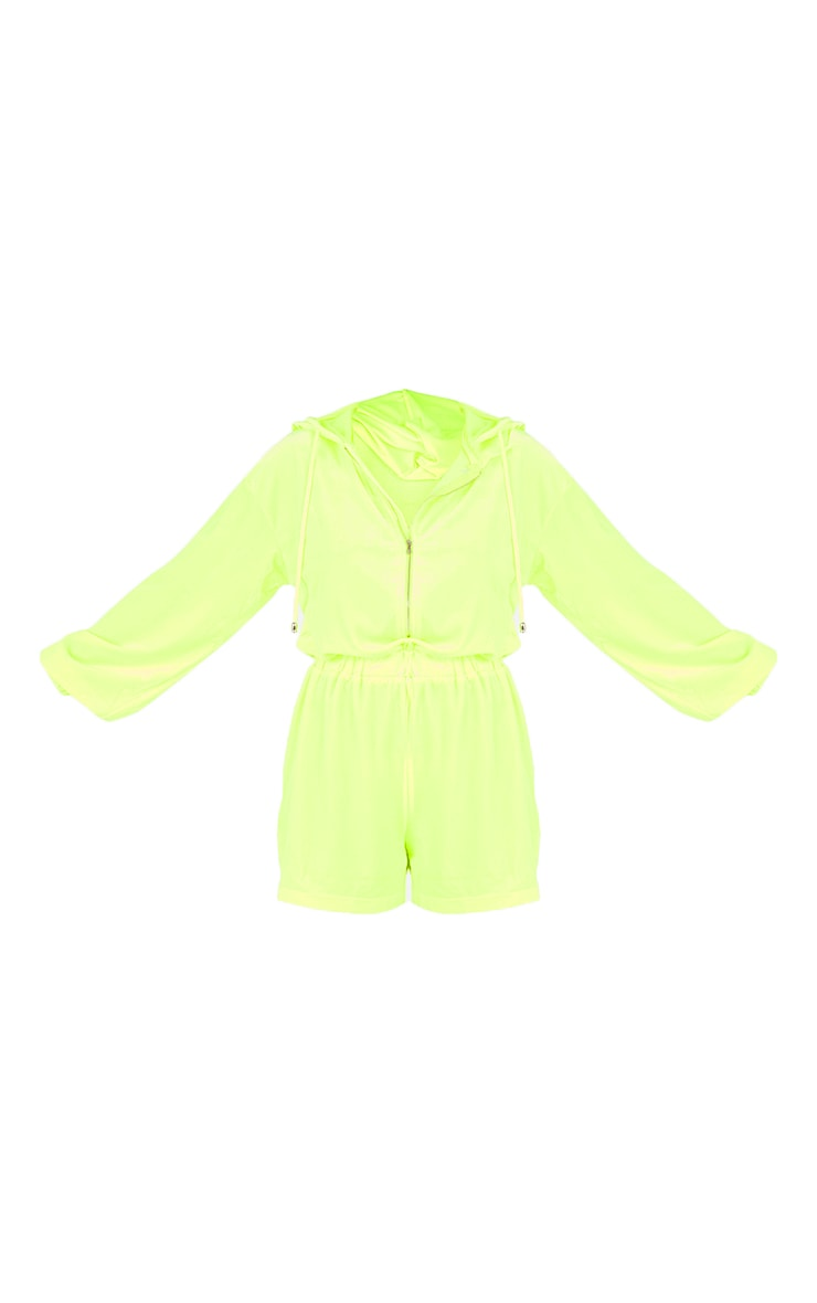 Lime Velour Seam Detail Hooded Playsuit 5