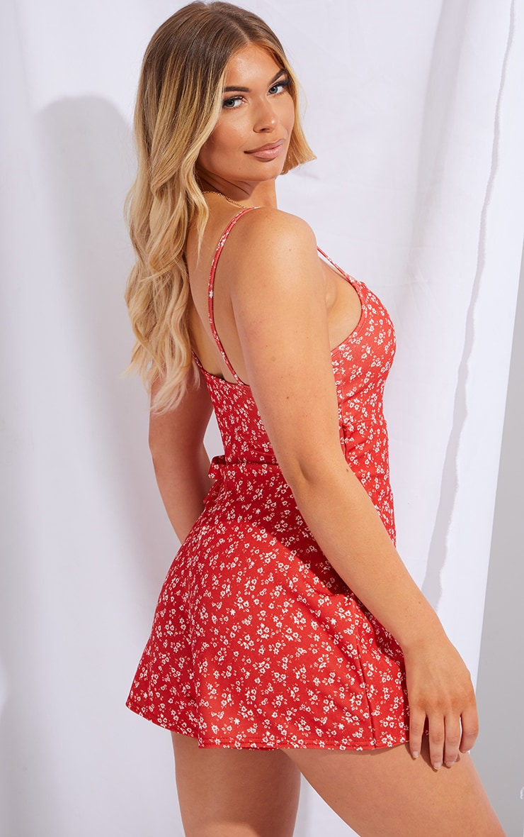Red Ditsy Floral Strappy Wrap Romper 2