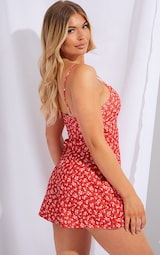 Red Ditsy Floral Strappy Wrap Playsuit 2