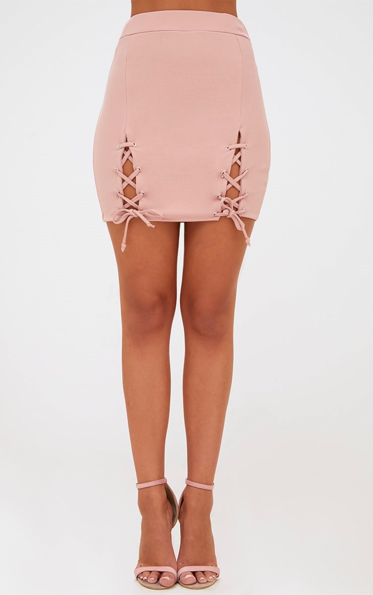 Pink Double Split Lace Up Mini Skirt 2