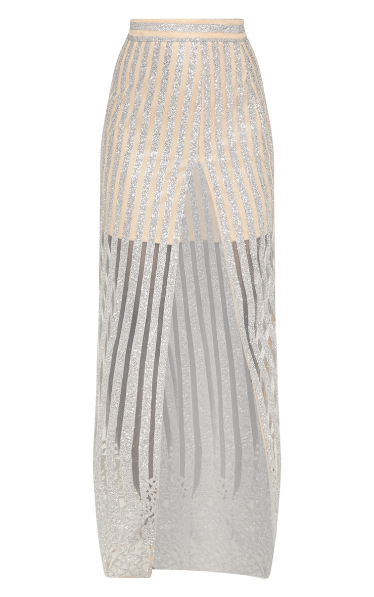 Silver Sheer Glitter Stripe Maxi Skirt  3