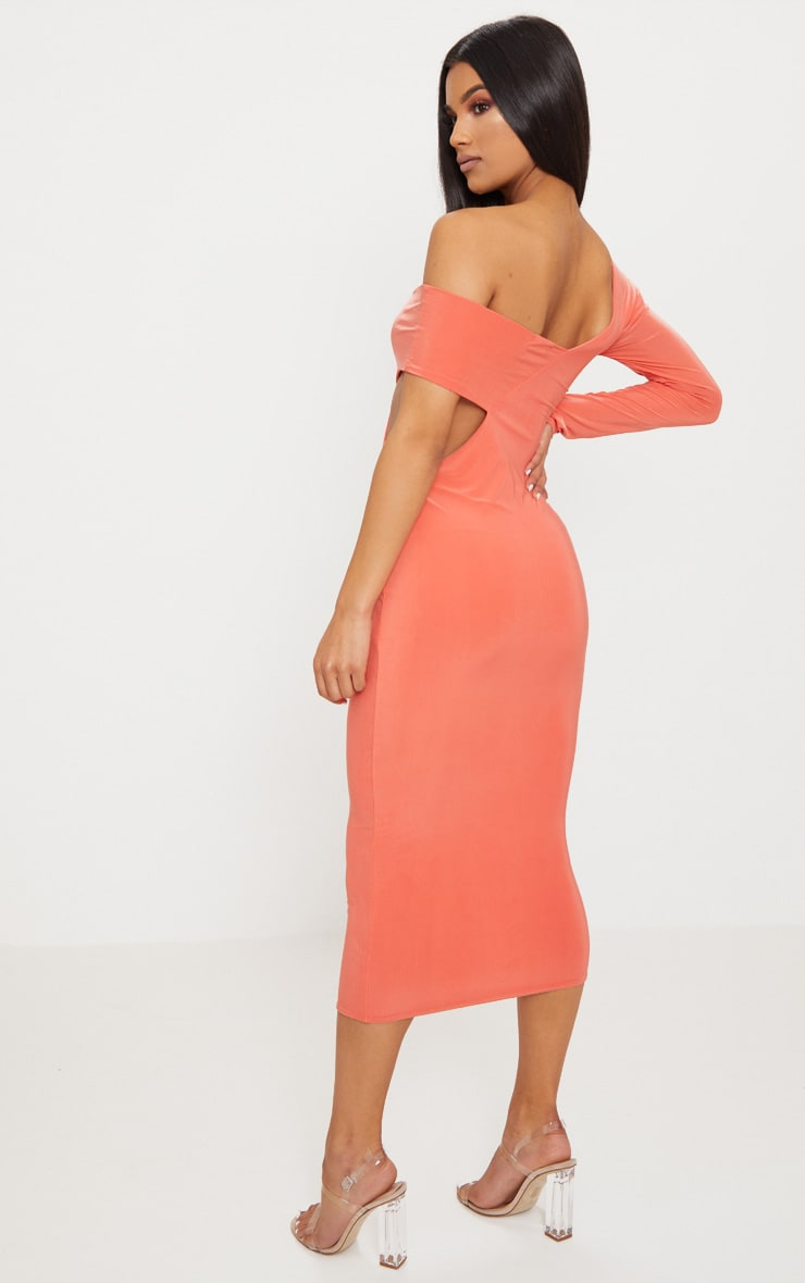 Coral Double Layer Slinky One Sleeve Strap Detail Midaxi Dress 2