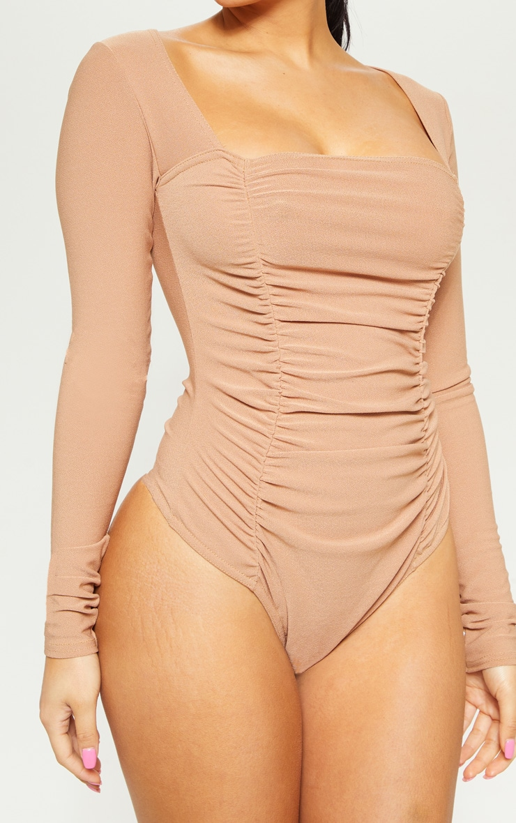 Petite Camel Ruched Long Sleeve Bodysuit 6