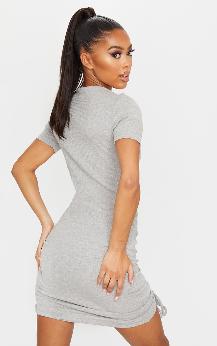 Grey Thick Rib Short Sleeve Ruched Front Bodycon Dress 2
