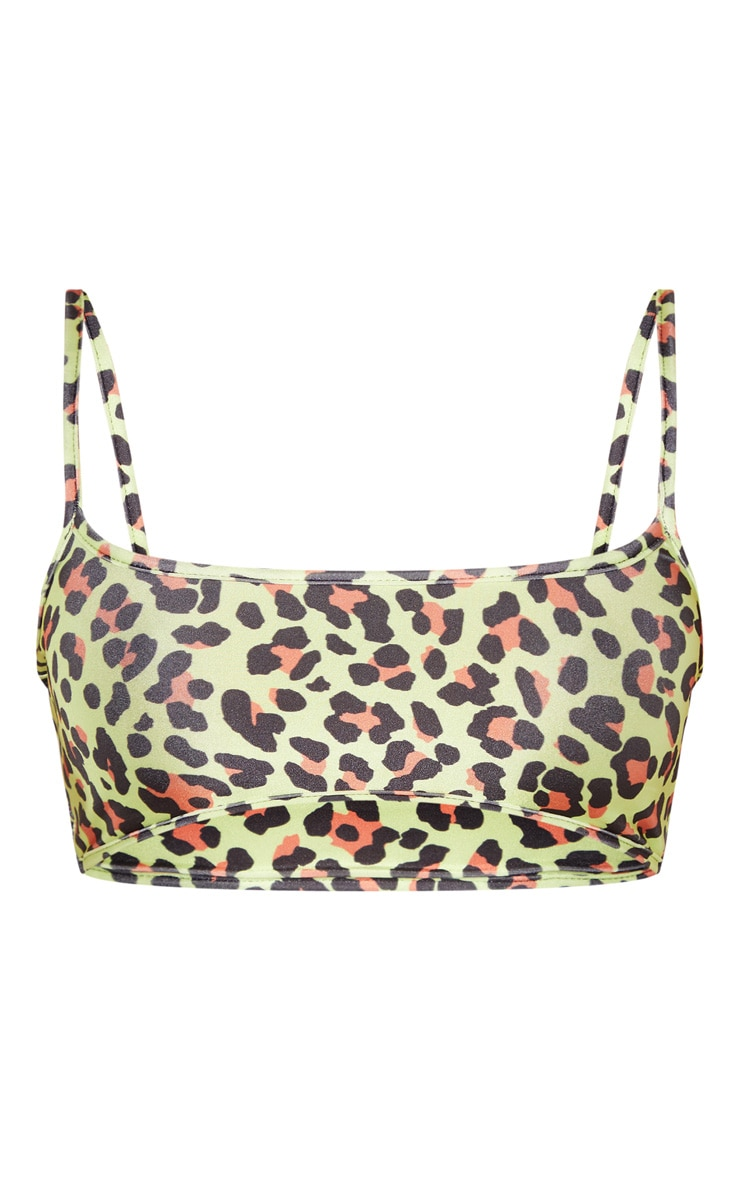 Neon Lime Leopard Scoop Bikini Top 3