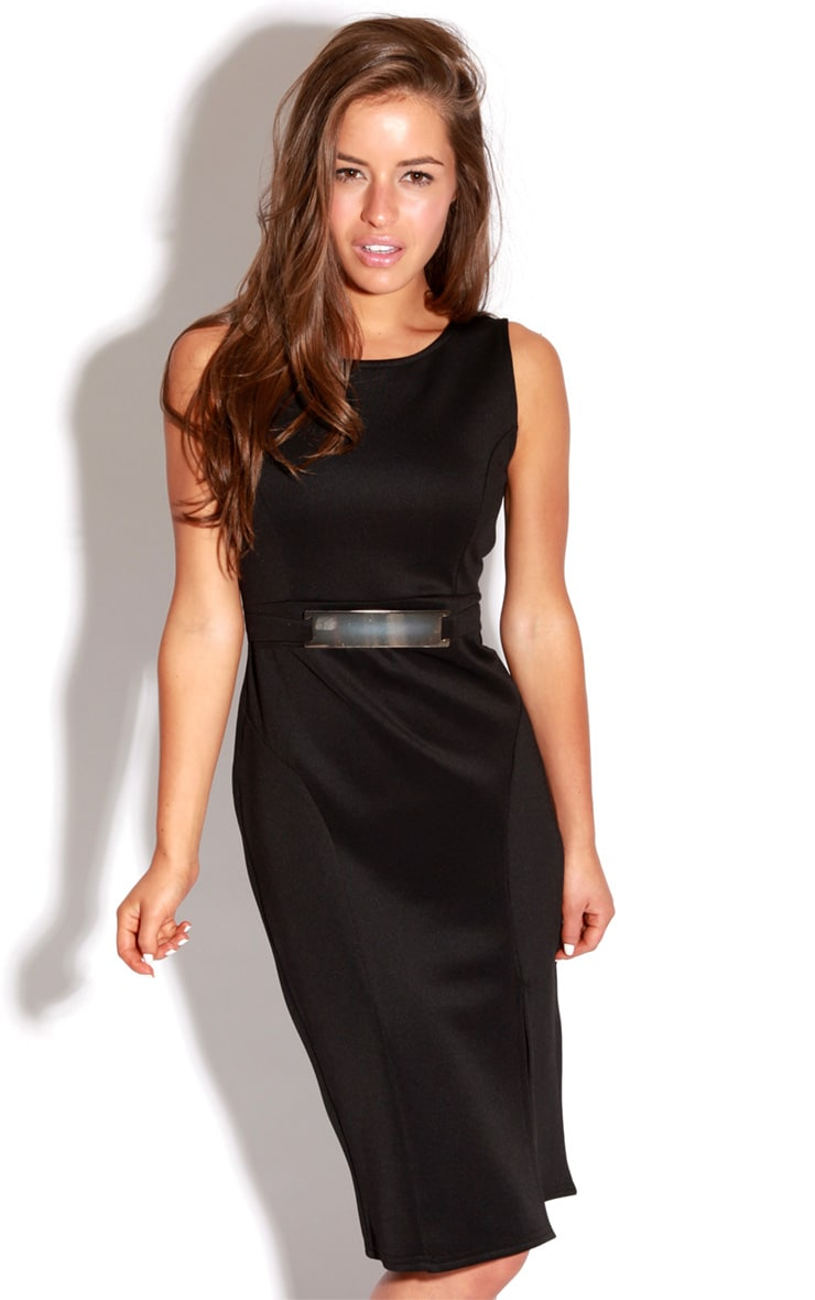 Briony Black Bodycon Midi Dress 1