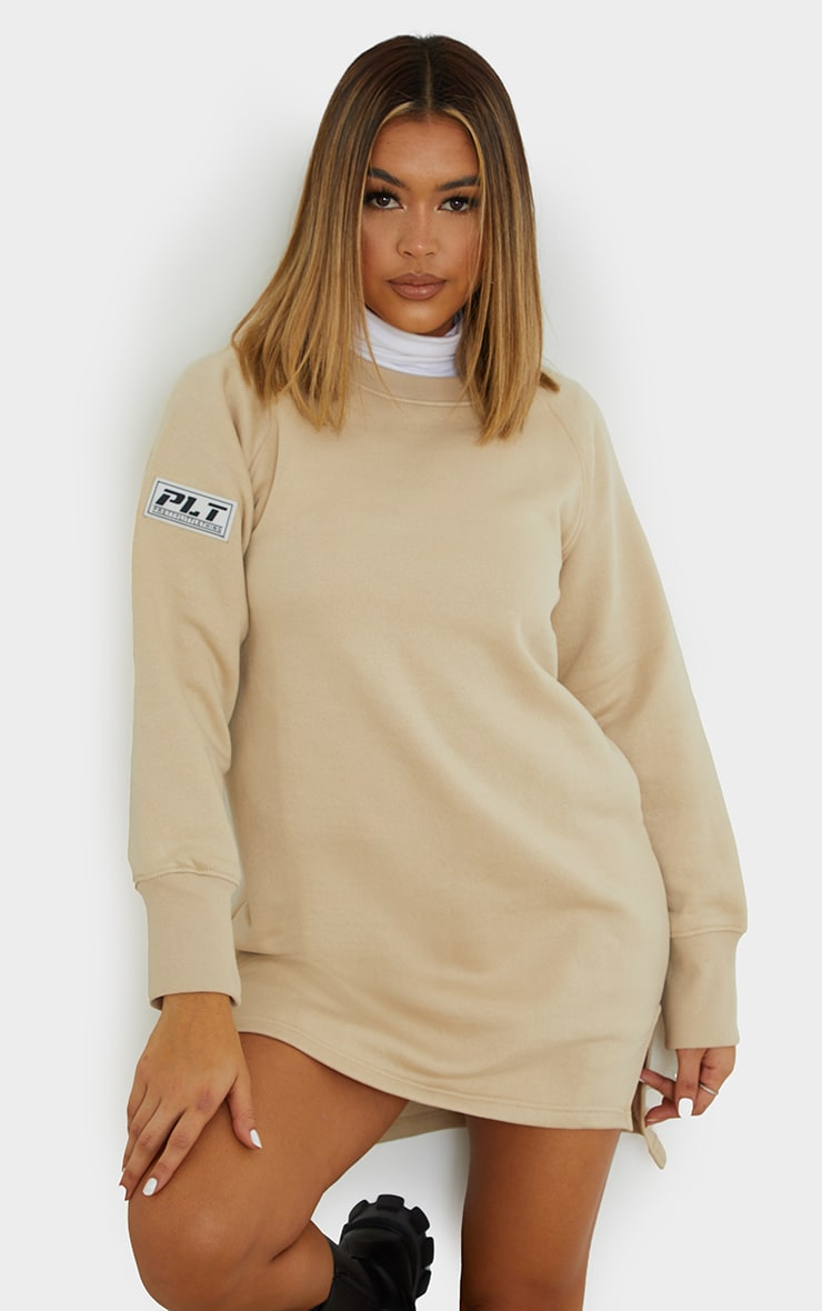 PRETTYLITTLETHING Stone  Slogan Dip Hem Sweat Sweater Dress 1
