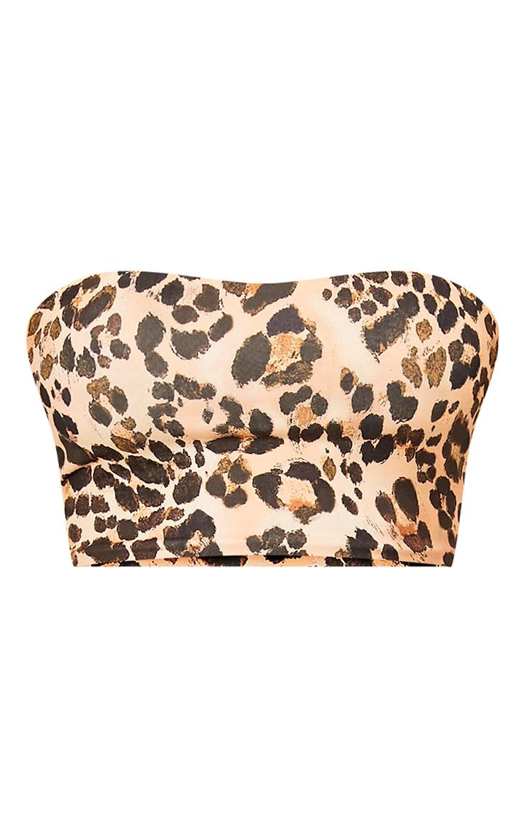 Top court bandeau moulant imprimé léopard brun 4