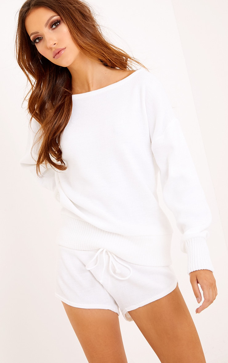White Short and Jumper Knitted Lounge Set 4