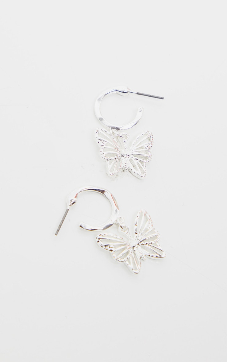 Silver Butterfly Hoop Drop Earrings 3