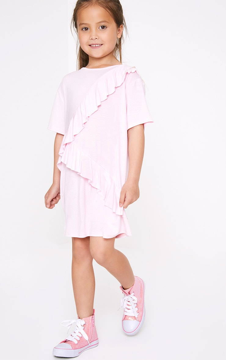 Ruffle Front Pink T Shirt Dress  1