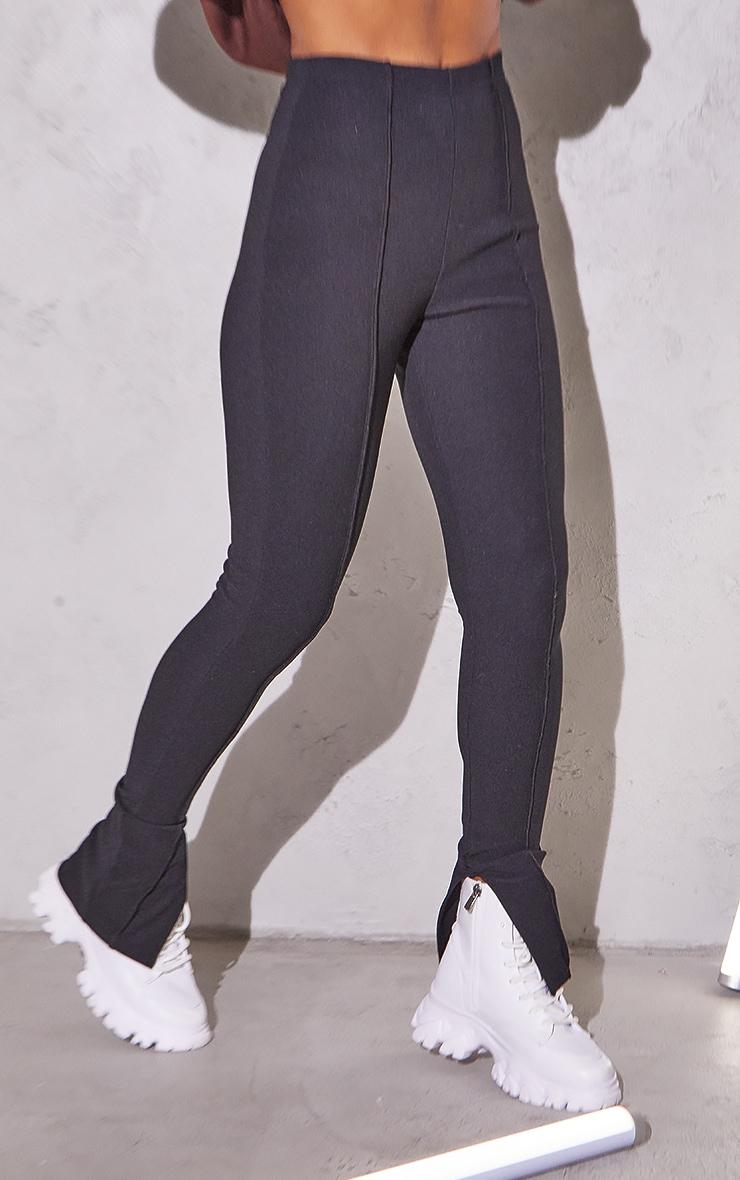 RENEW Black Rib Contrast Seam Split Hem Leggings 2