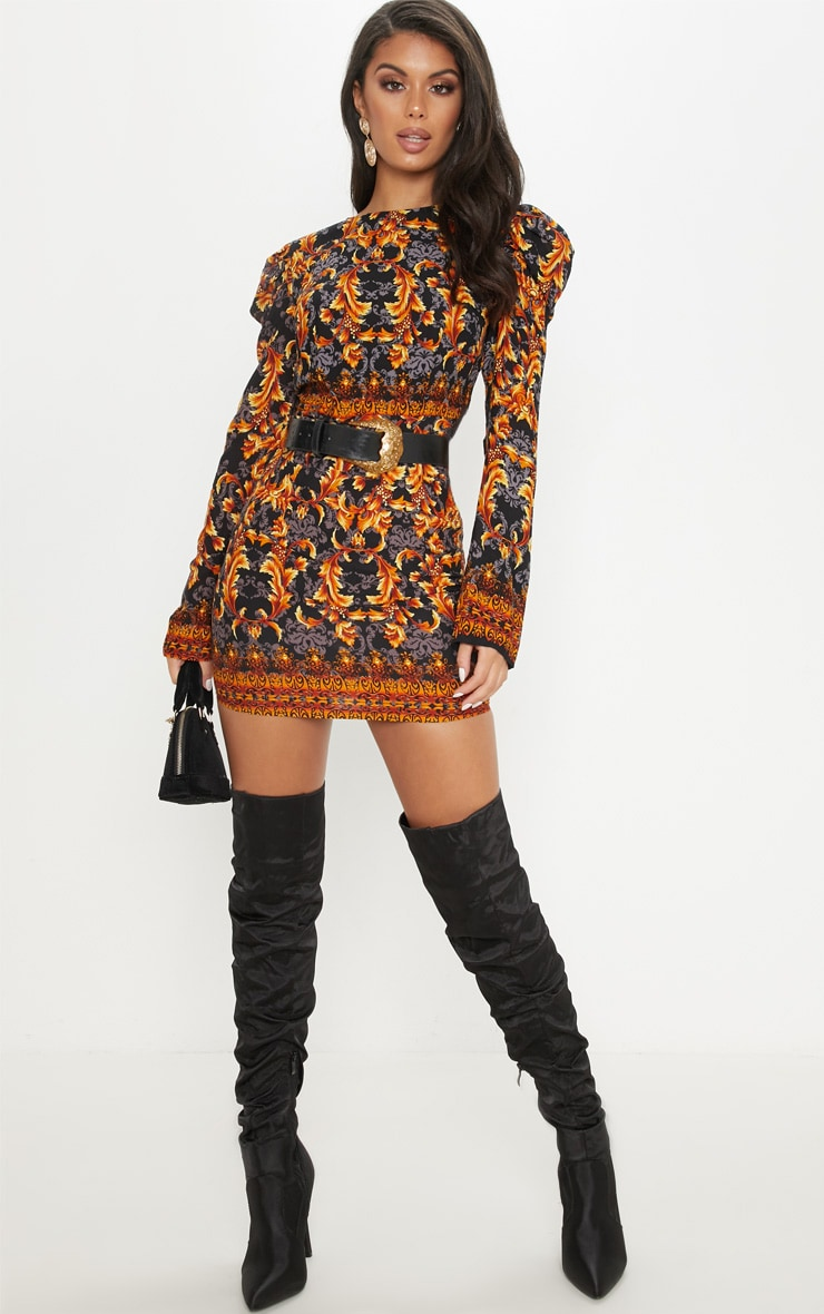 Black Chain Print Puff Sleeve Bodycon Dress