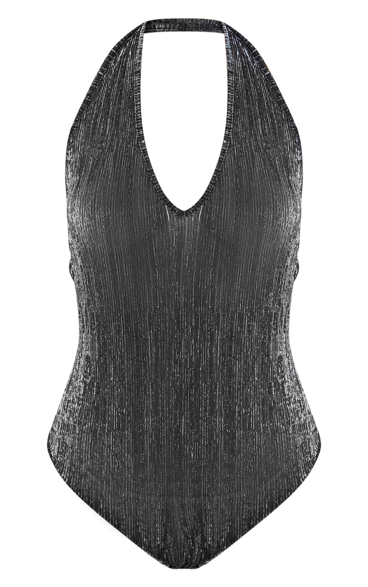 Silver Glitter Plisse Halterneck Bodysuit  2