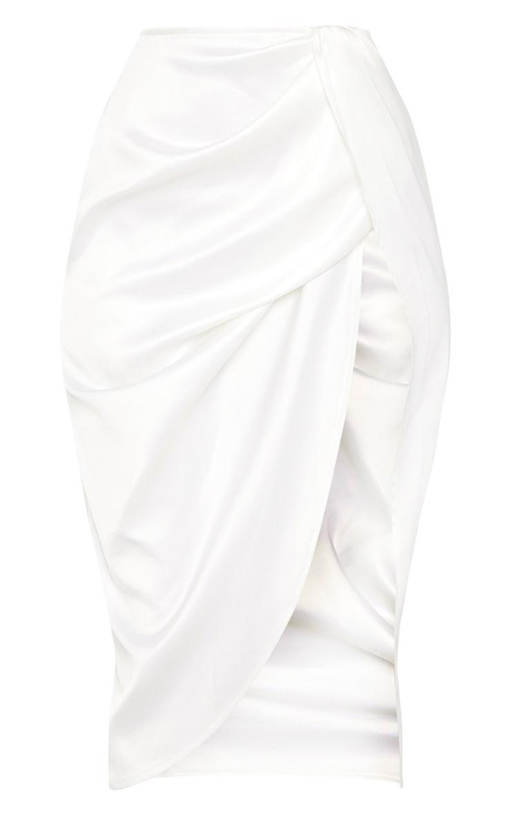 White Satin Twist Front Midi Skirt 3