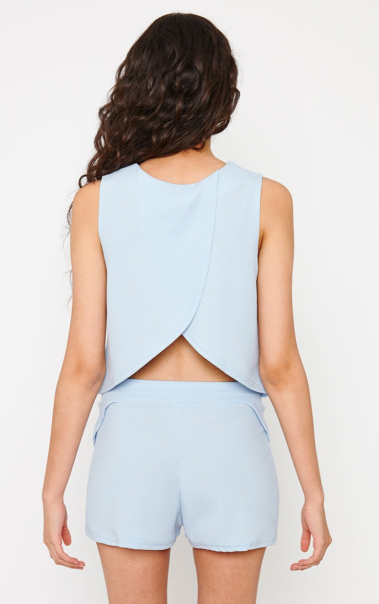 Devon Powder Blue Wrap Back Top 2