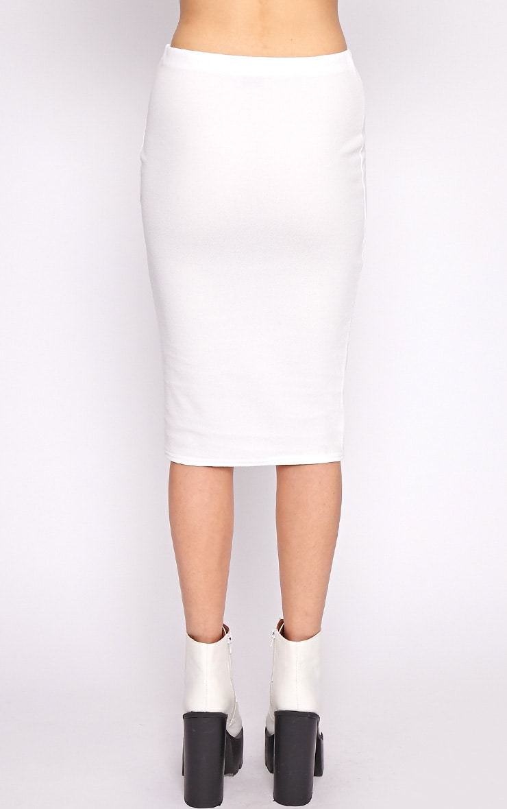 Alexa White Textured Midi Skirt -S/M 2