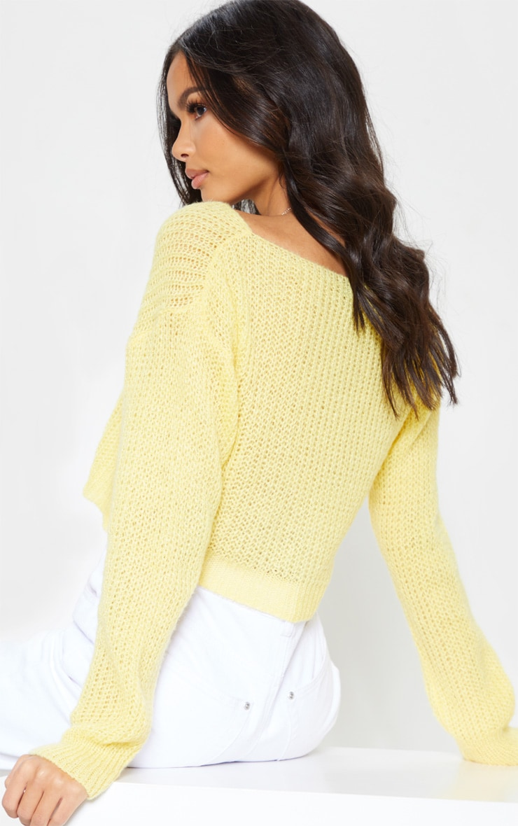 Lemon Laguna Wrap Front Knitted Top 2