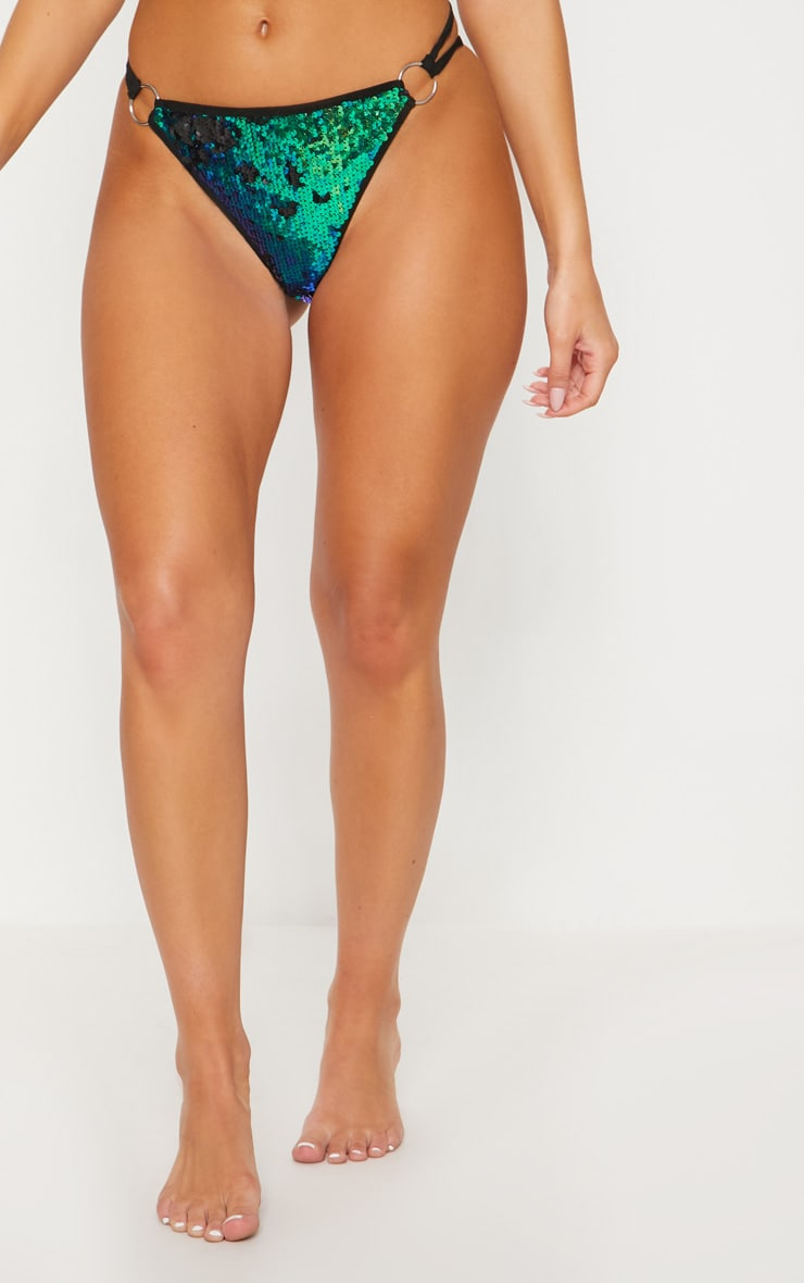 Green Ring Detail Sequin Bikini Bottom 2