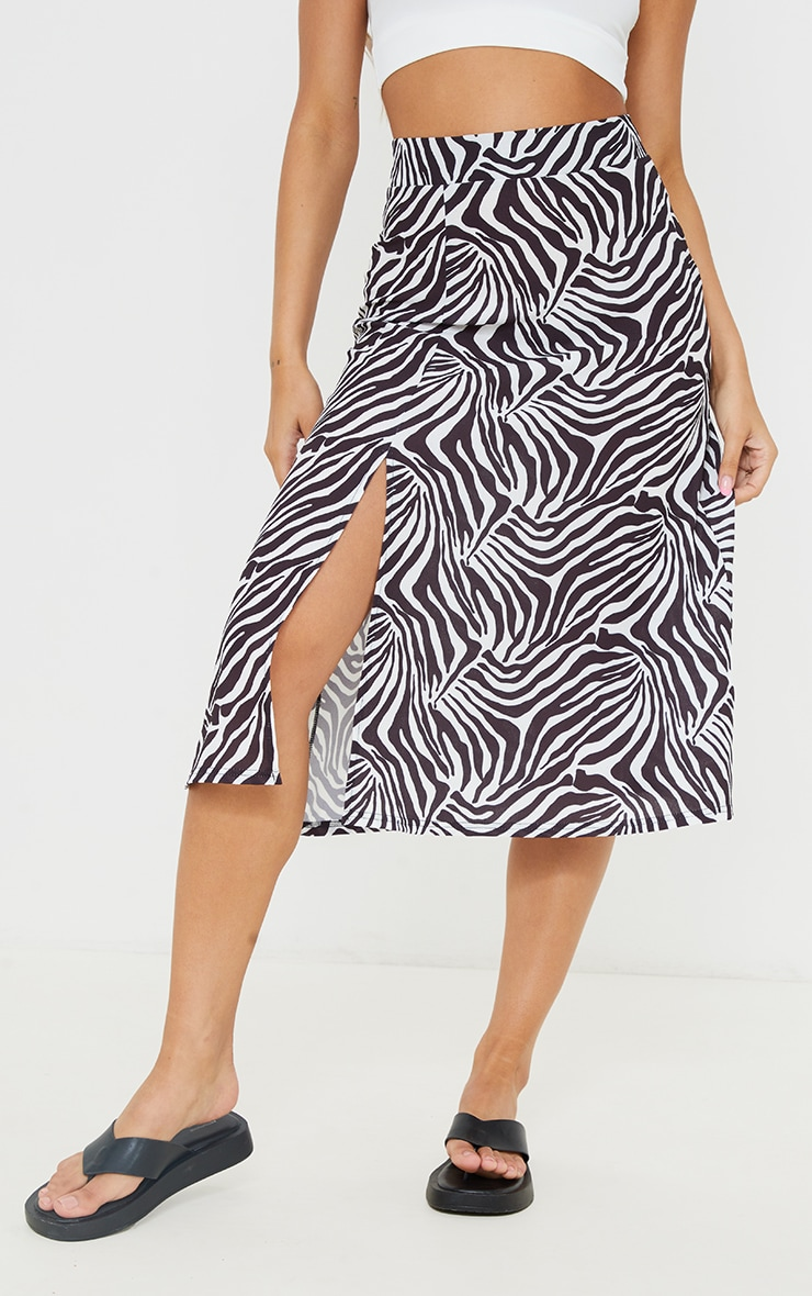 Monochrome Zebra Print Floaty Midi Skirt 2