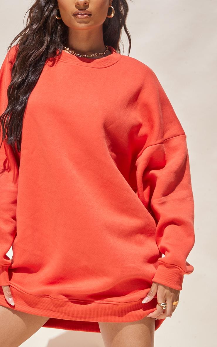 Washed Red Drop Shoulder Oversized Sweat Jumper Dress 4