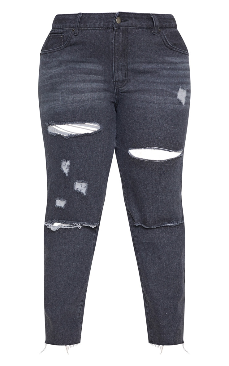 Plus Black Cropped Straight Leg Jean 3