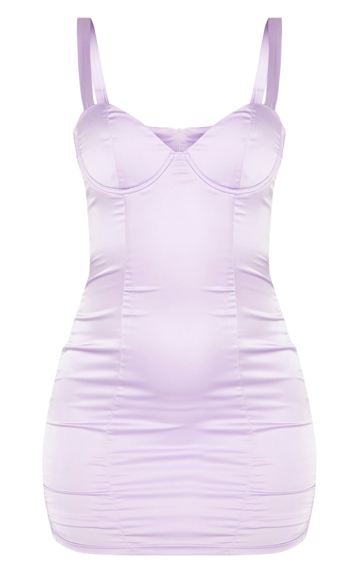 Lilac Satin Bodycon Dress 3