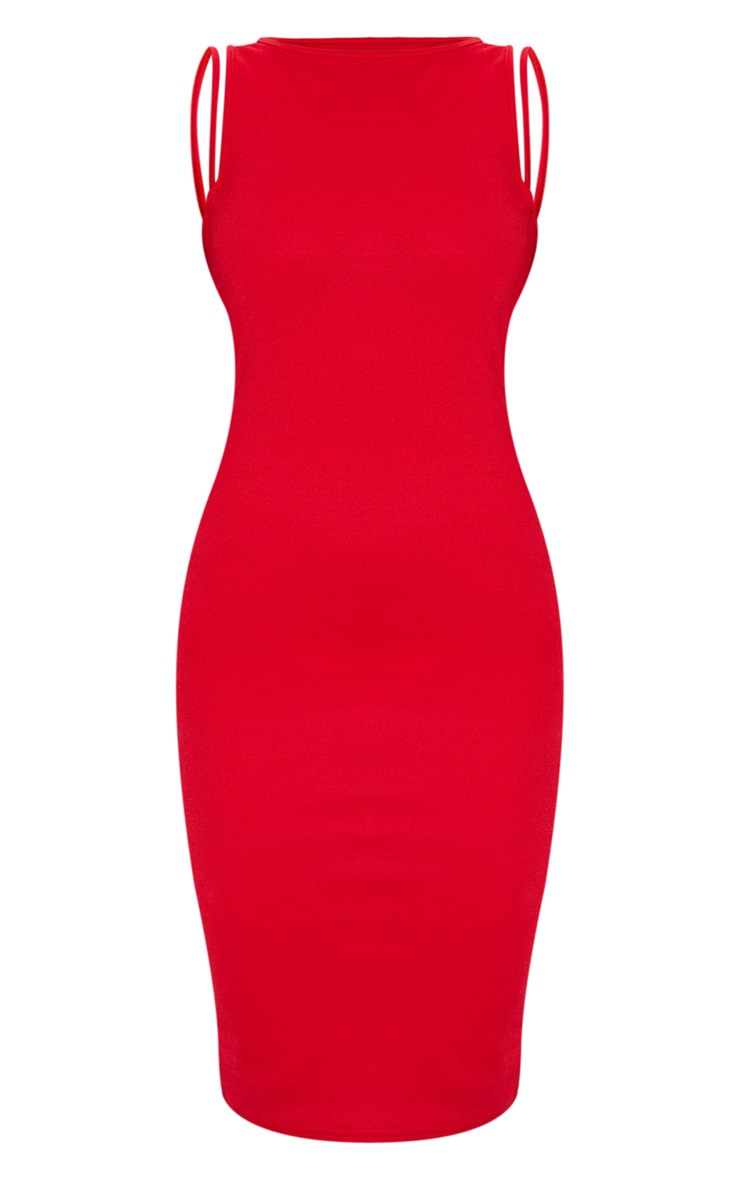 Red Sleeveless Strap Cut Out Midi Dress 5