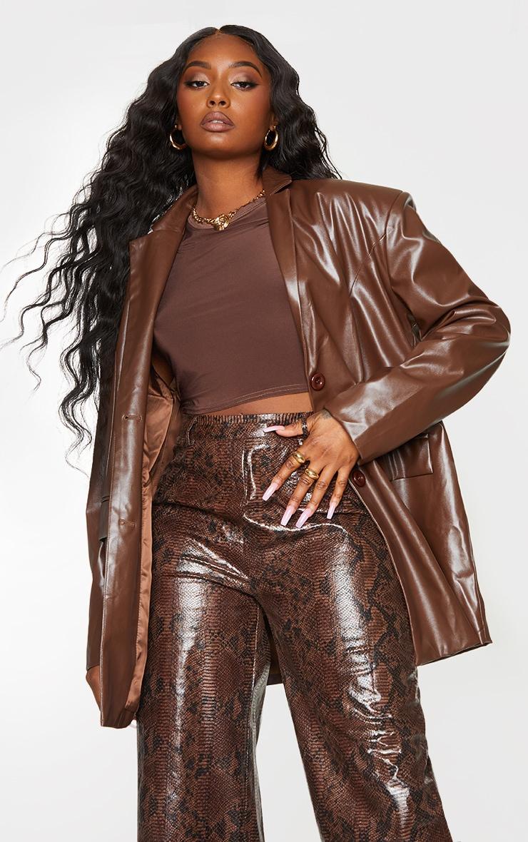 Chocolate Faux Leather Oversized Dad Blazer 1