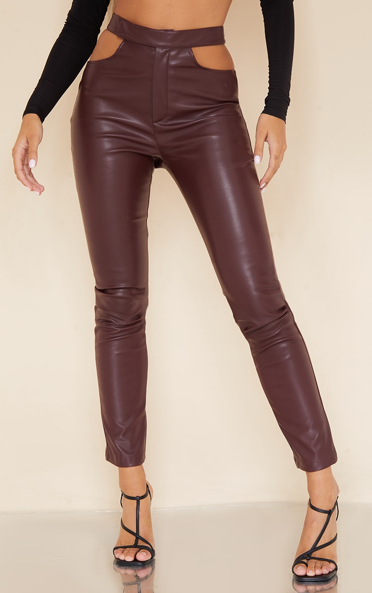 Dark Chocolate Faux Leather Cut Out Detail Skinny Trousers 2