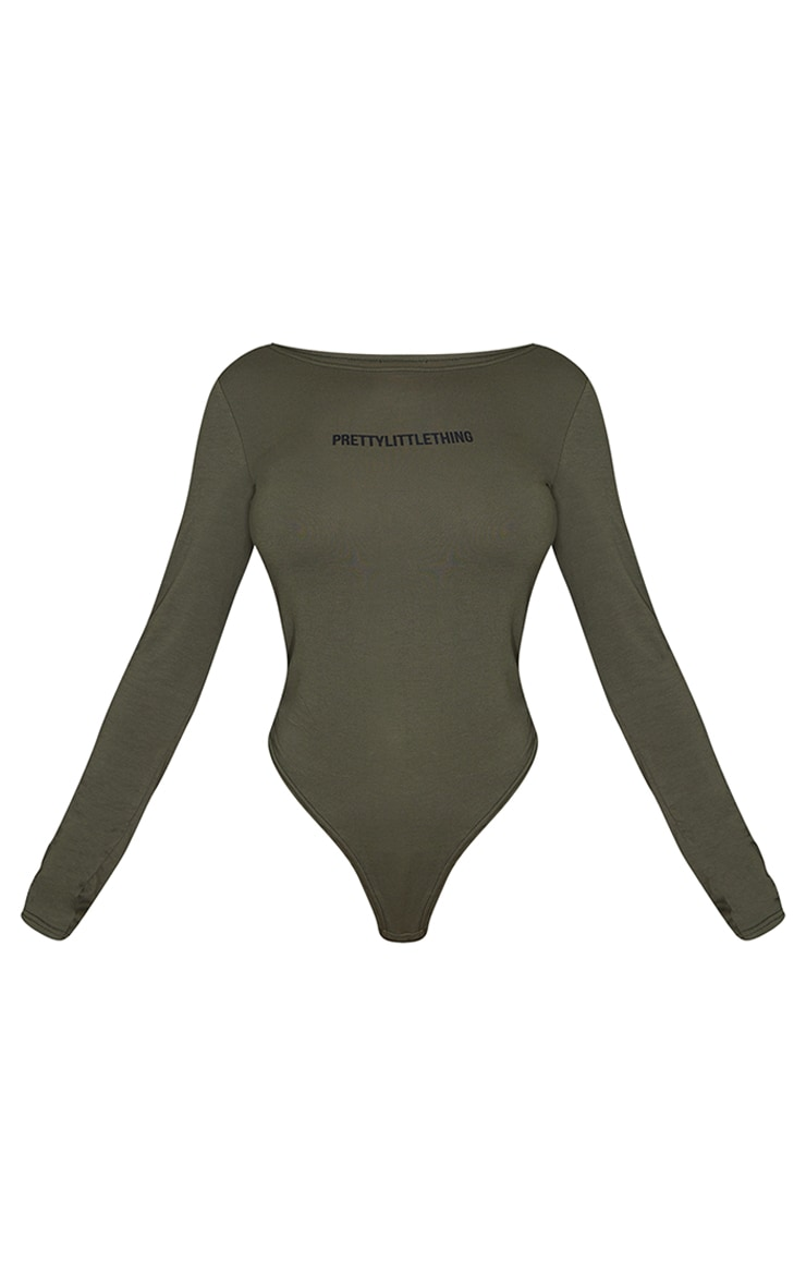 PRETTYLITTLETHING Khaki Long Sleeve Printed Bodysuit 5