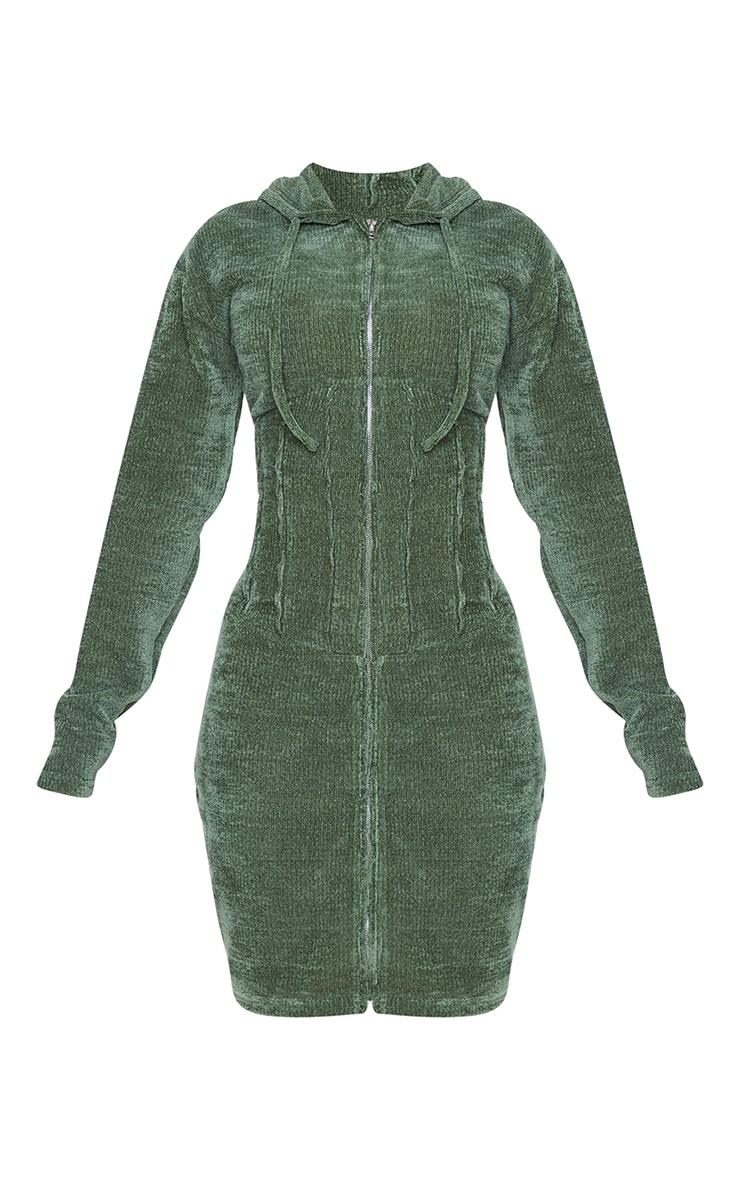 Shape Khaki Rib Velour Corset Detail Hooded Bodycon Dress 5
