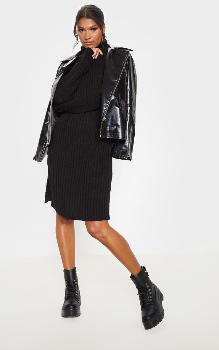 Black Roll Neck Midi Sweater Dress 1