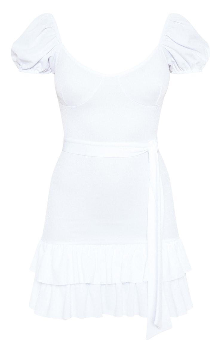 White Tie Waist Frill Hem Dress 3