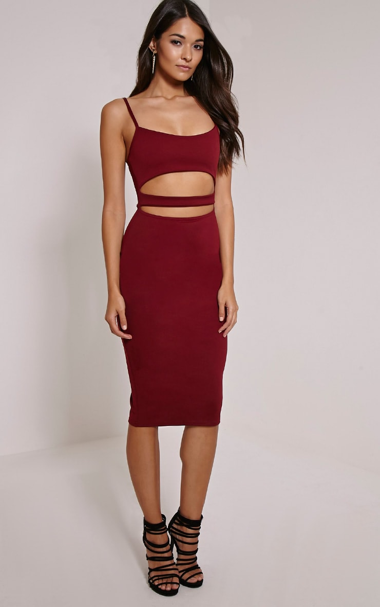 Kheelie Burgundy Cut Out Midi Dress 4
