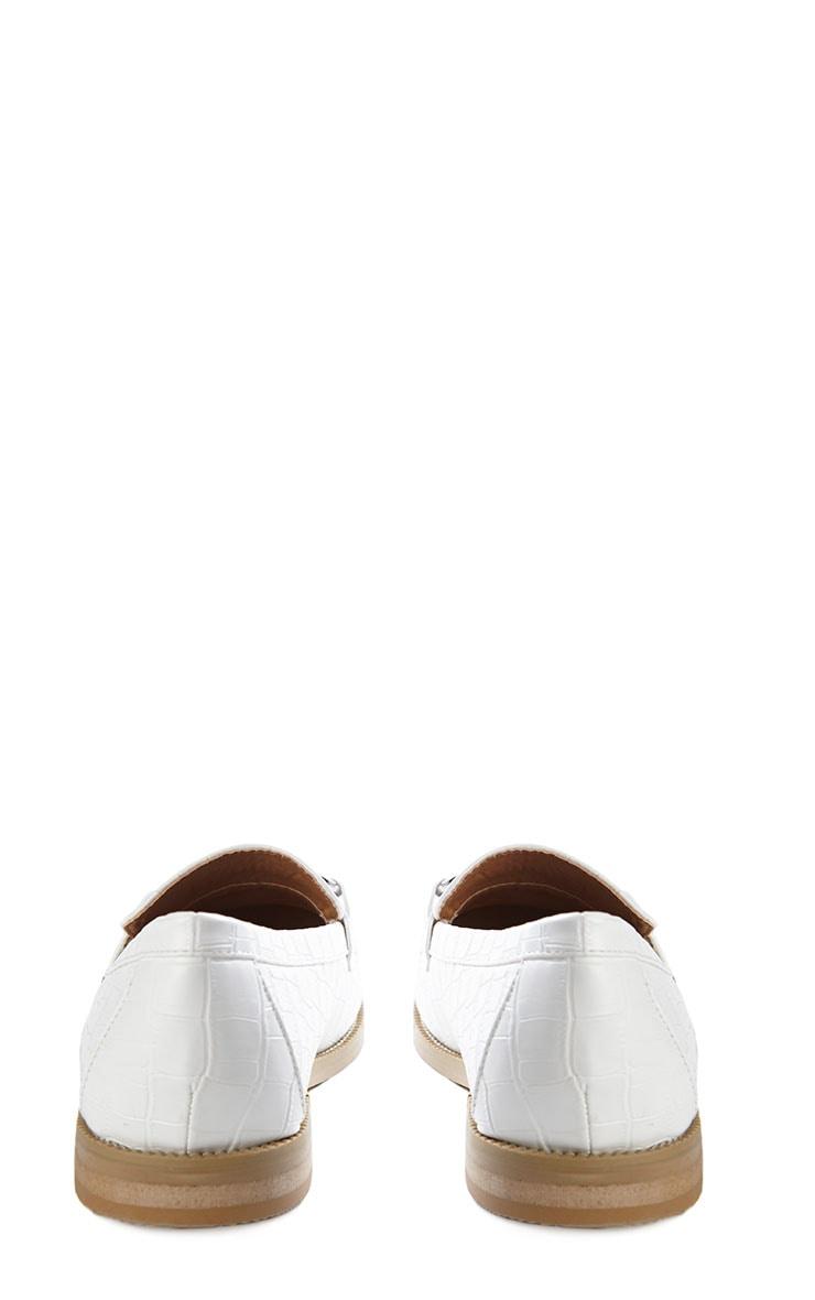 Milan Cream Croc Silver Bar Loafers 8