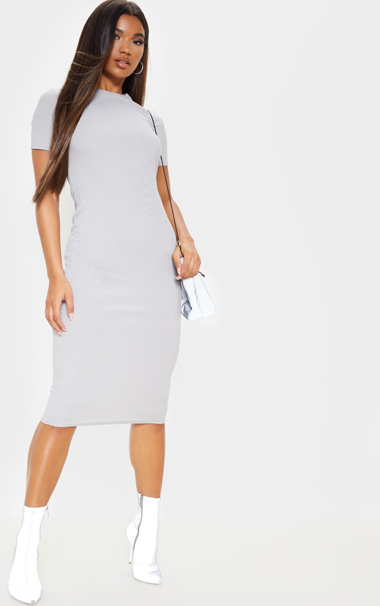 Grey Ribbed Crew Neck Midi Dress 1