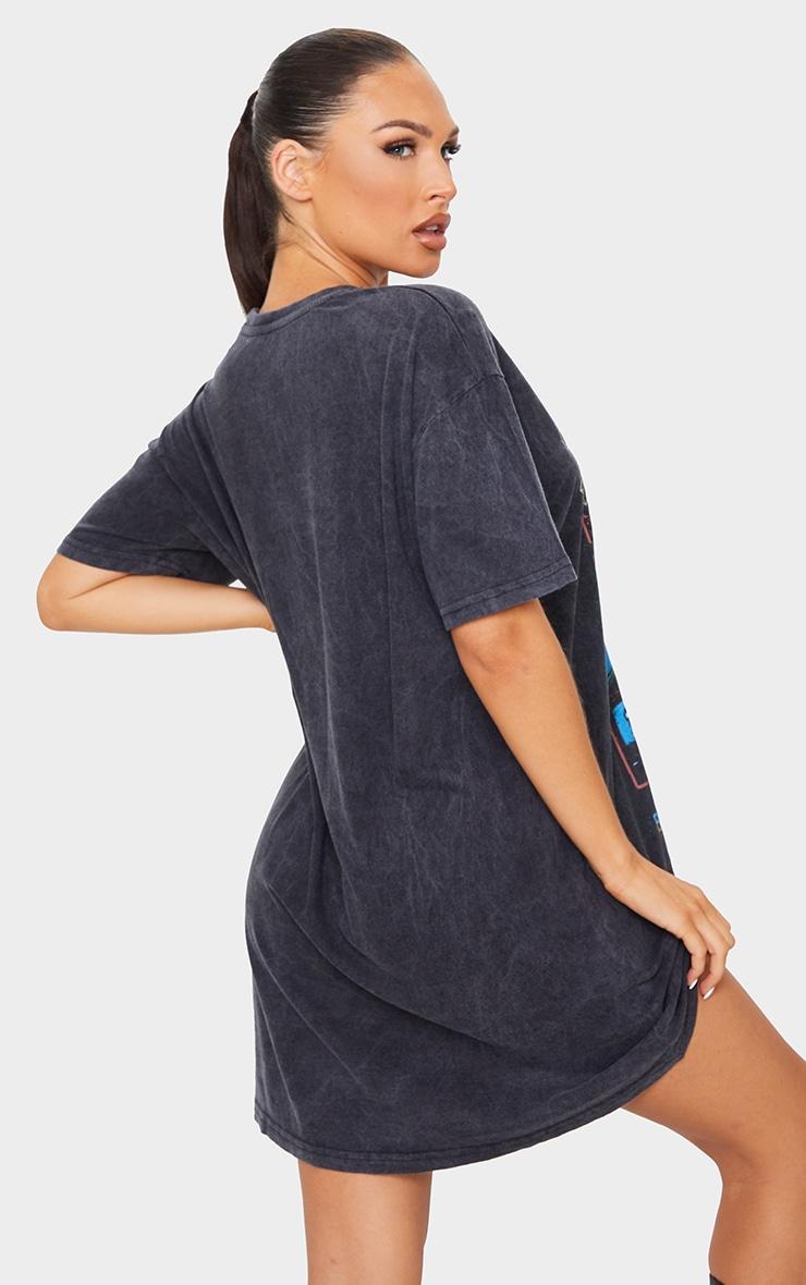 Black ACDC Print Acid Wash T Shirt Dress 2