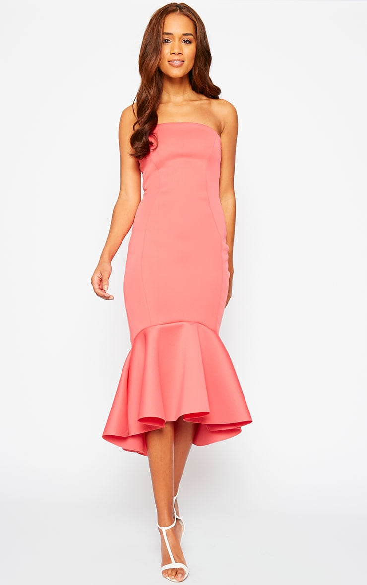 Aisha Coral Bandeau Fish Tail Dress 1
