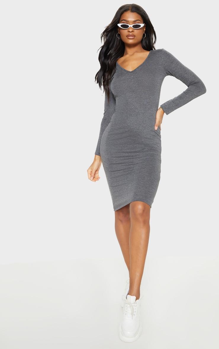 Charcoal Grey Jersey V Neck Long Sleeve Midi Dress by Prettylittlething