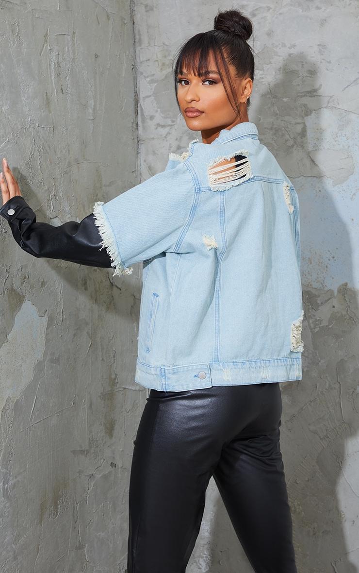 Light Wash Mixed PU Sleeve Oversized Denim Jacket 2