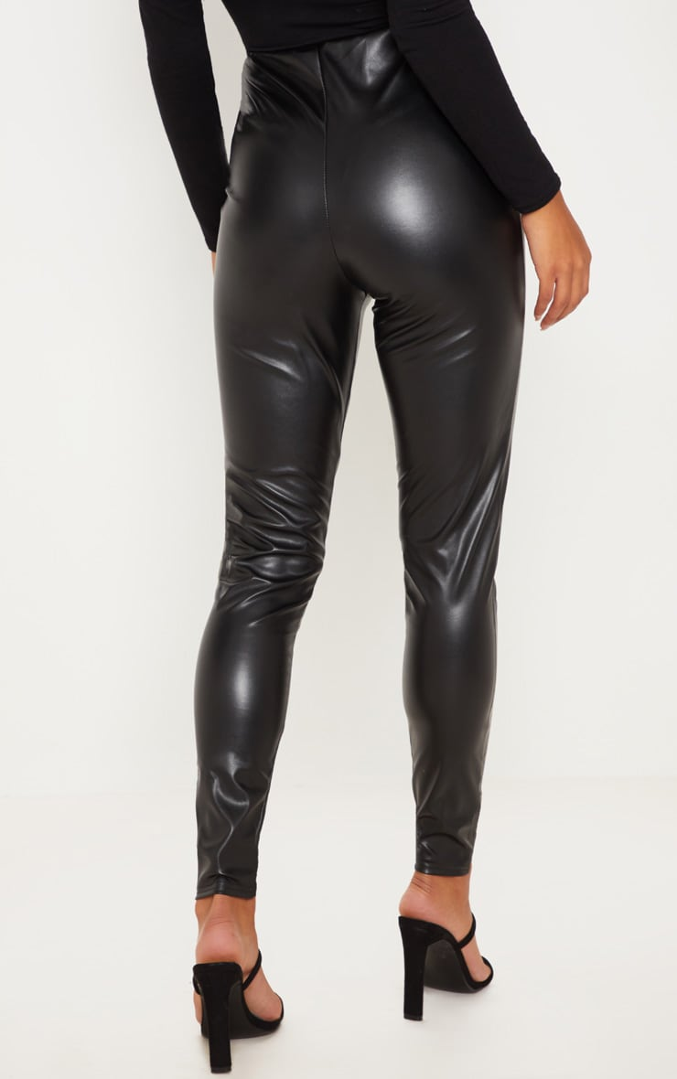 Black Faux Leather High Waisted Leggings 4