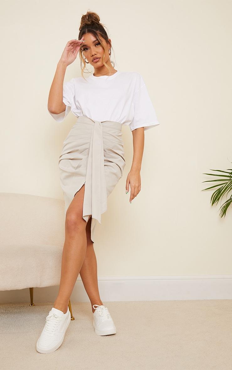 Ice Grey Foldover Button Through Midi Skirt