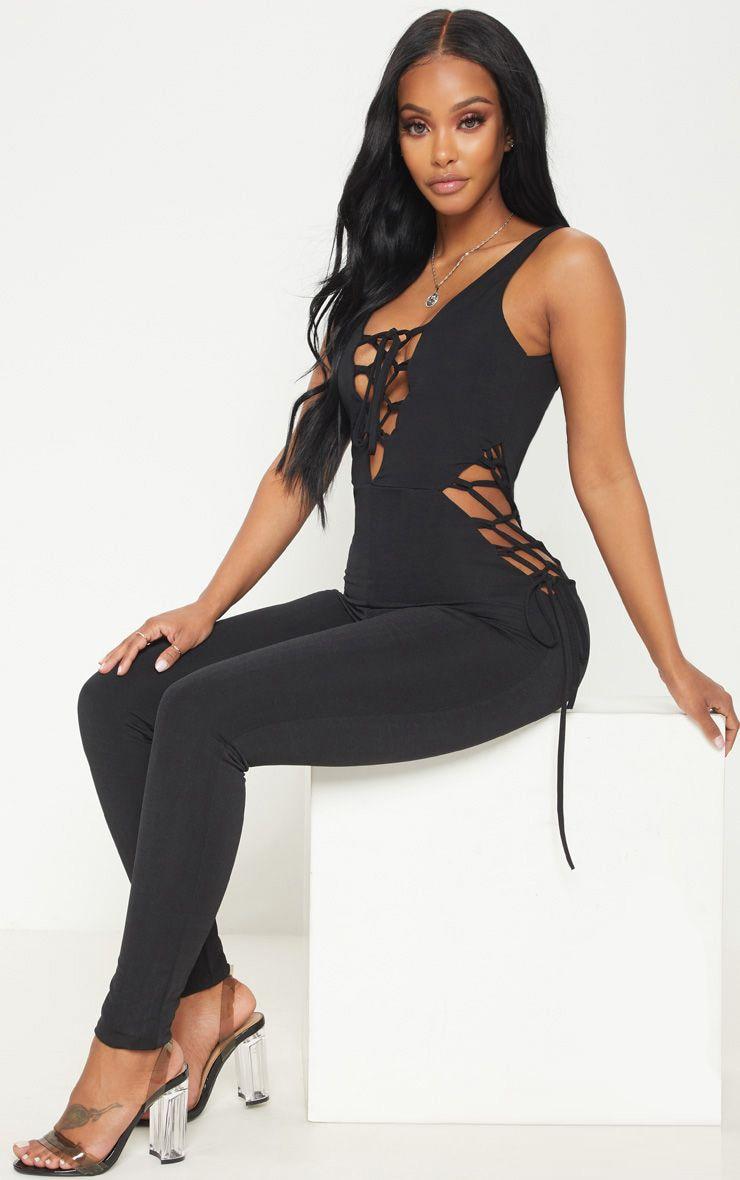 Shape Black Slinky Lace Up Detail Jumpsuit 1
