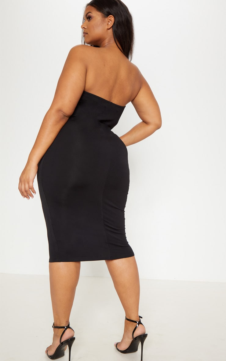 Plus Black Jersey Bandeau Midi Dress 2