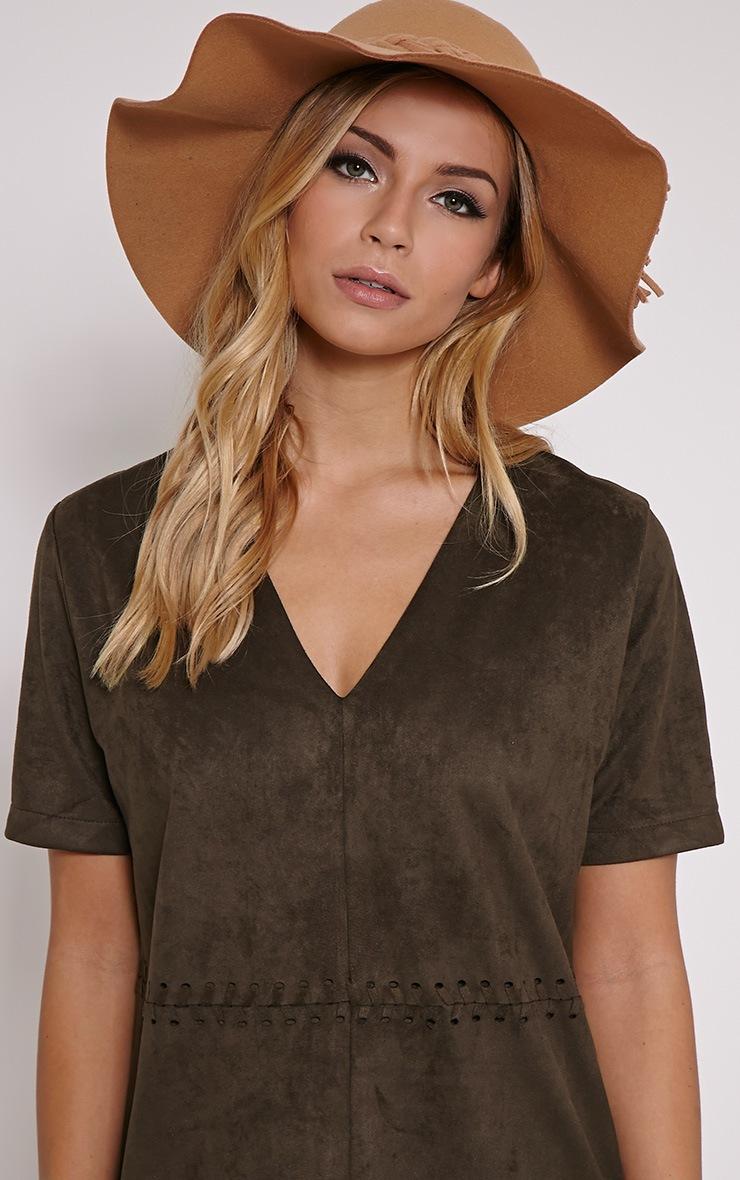 Raylin Camel Plait Detail Floppy Hat 1