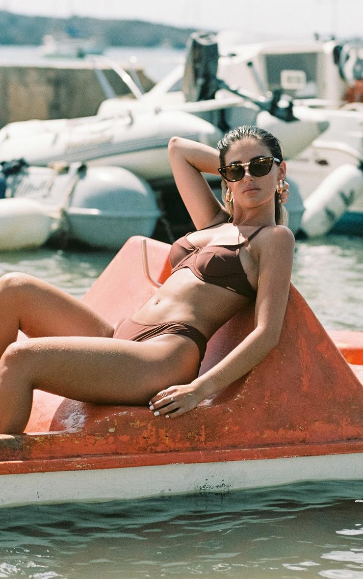 Deep Brown Mix & Match Underwired Balconette Bikini Top 2