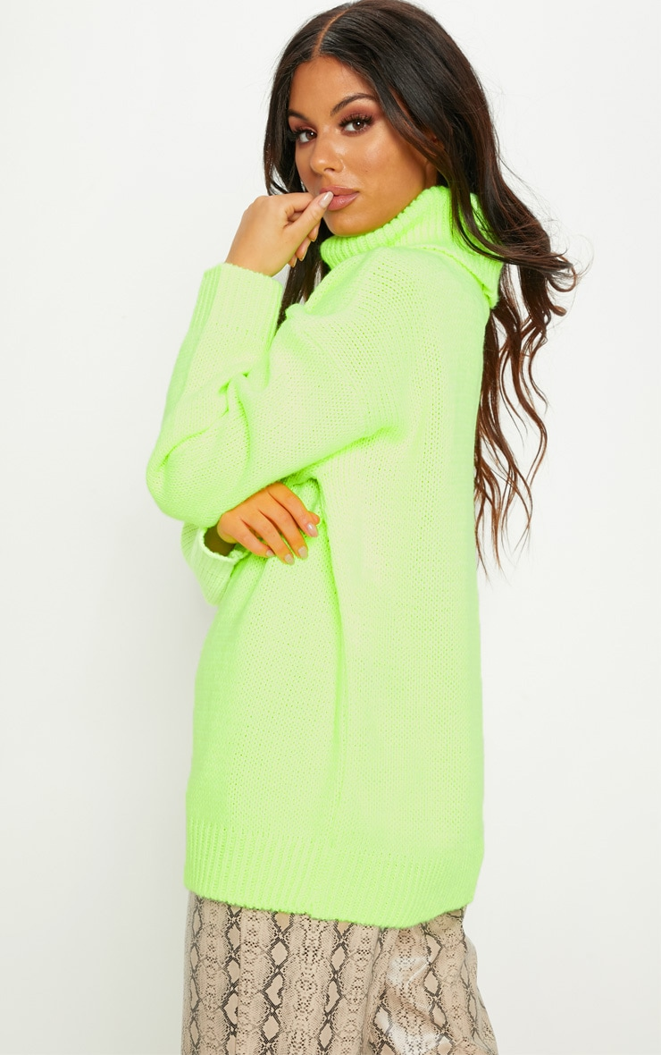 Lime High Neck Fluffy Knit Sweater  2